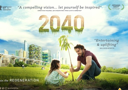 poster for the film, 2040 showing a man planting a tree with a little girl