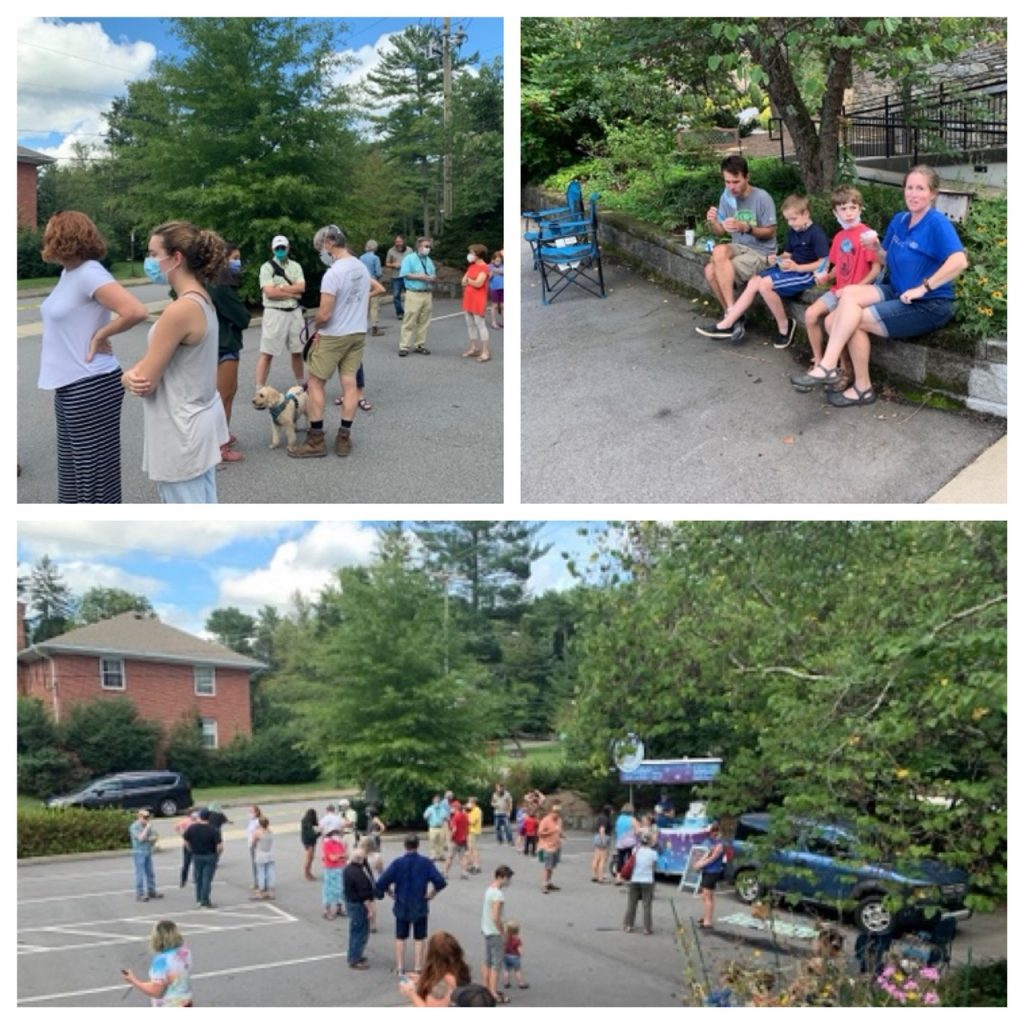 Multiple image of people outside gathered (sith social distancing) to talk and eat shaved ice concoctions.