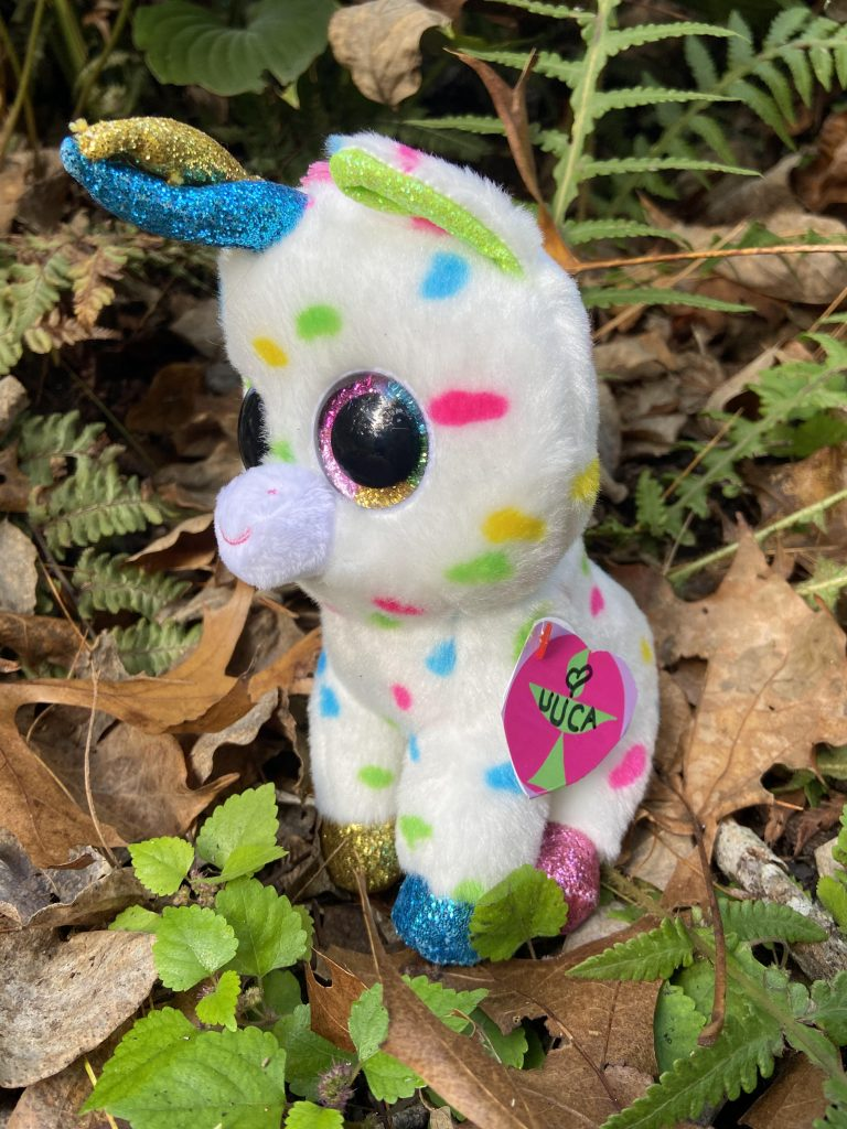 white plush unicorn with mlti-colred spots sitting in garden