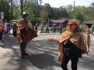 Congregants depicting the May Goddess and Green Man for a Beltane ritual.