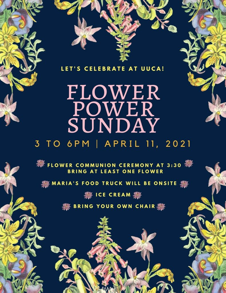 Poster with details of the Flower Power event. Navy blue background with pastel flower edging.