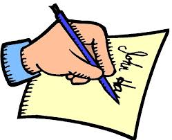 clipart hand writing a letter