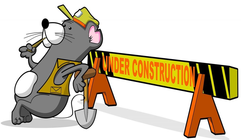 """cartoon image of beaver leaning on sawhorse that reads """"under construction"""" Image from Pixabay."""